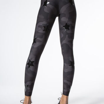 Ultra High Silk Camo Knockout Leggings in Nero/patent Nero