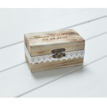Rustic Wedding Ring Bearer Box Personalized Engrave