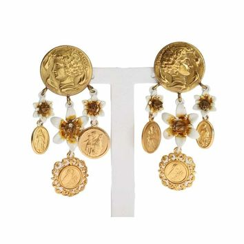 Dolce & Gabbana Gold MONETE Floral Earrings