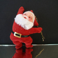 Santa Claus Flocked Christmas Ornament Festive Traditional Holiday Home Decor