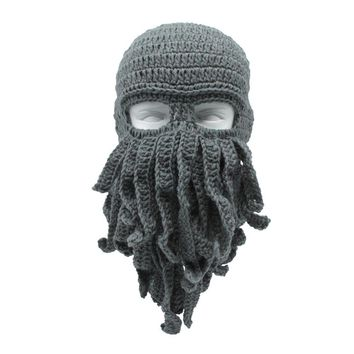1PC Creative Funny Octopus Hat Men Fashion Ski Squid Hat Mask Beard Octopus Squid Cap Wind Ski Wool Knit Cosplay Beanie Cap