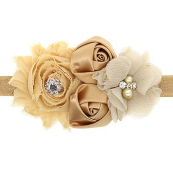 2017 Hair Bands Accessories Lovely Kids Girls Lace Sunflower Two Rose Flowers Pearl Rhinestone Hairband Headband