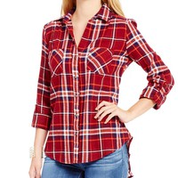 Takara Roll Tab Sleeve Plaid Flannel Shirt | Dillards