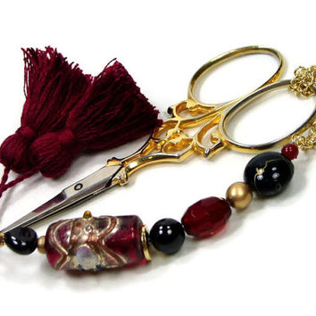 Scissor Fob, Garnet, Red, Burgundy, Black, Cross Stitch, Needlepoint, Sewing, DIY Crafts, Quilting