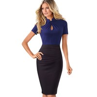 Elegant Work Office Business Drapped Contrasting Bodycon Slim Pencil Lady Dress Women Sexy Front Key Hole Summer Dress EB430
