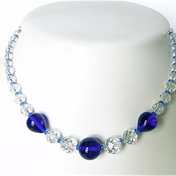 Boho. Czech Bohemian necklace. Vintage. Cobalt blue glass & crystal beads.