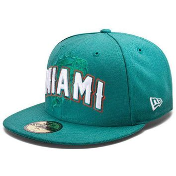 New Era Hat Cap NFL Football Miami Dolphins 7 1/4 59fifty 2012 Draft Fitted