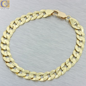 """Men's 14k Solid Yellow Gold Italy 7mm Cuban Curb Link 8.5"""" Chain Bracelet 20.4g"""