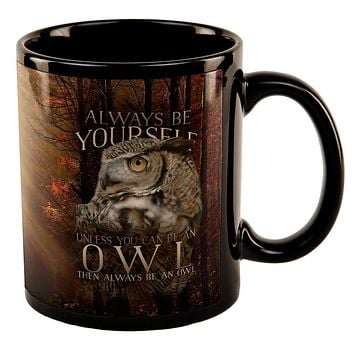 Always Be Yourself Unless Owl All Over Black Out Coffee Mug