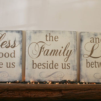 Bless The Food Wood Sign Kitchen Sign Dining Room Sign Distressed Wood Wall Decor Rustic Primitive Farmhouse Sign Wedding Gift Bridal Shower