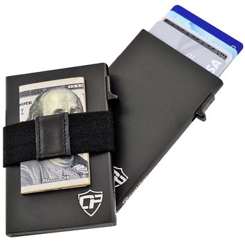 Card Blocr Money Clip Wallet for Men in Black with Optional Cash Band