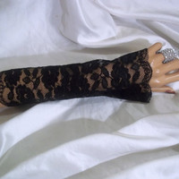 Long Black Lace Gloves, Sexy Black Lace Gloves, Long Lace Arm Warmers, Long Black Fingerless Gloves, Bridesmaid Gloves, Long Formal Gloves