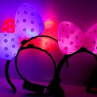 4 Minnie Mouse Headband Assort Color Flashing Blinking LED Light Up Party Favor