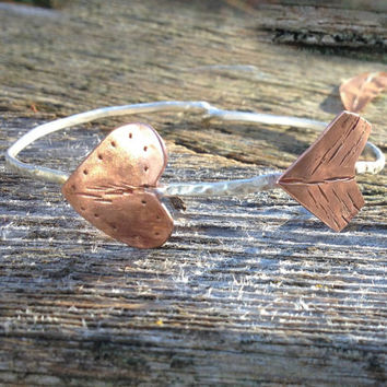 Copper and Sterling Silver adjustable Shooting arrow bangle. Native American, tribal jewelry, southwestern jewelry, gifts for her.