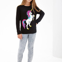 FOREVER 21 GIRLS Crew Neck Unicorn Sweater (Kids) Black/White