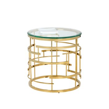 CELLO TEMPERED GLASS STAINLESS STEEL GOLD SIDE TABLE