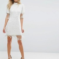 ASOS Scattered Pearl Bodycon Mini Dress with Fringing at asos.com