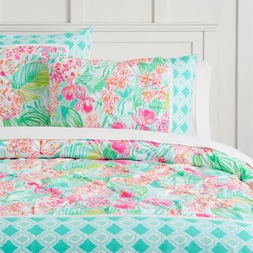 Lilly Pulitzer Organic Orchid Border Duvet Cover + Sham