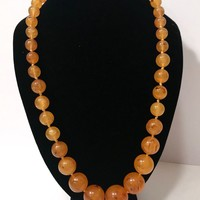 Butterscotch Amber Bead Necklace  Round Graduated Sizes Chunky Marbleized Faux Amber Plastic Single Strand Necklace  Hand Knotted Vintage