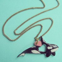 """Orca / Killer Whale necklace. """"Cetacean Love"""" series, faux gold chain, high gloss finish. Now with optional Orca Research donation."""