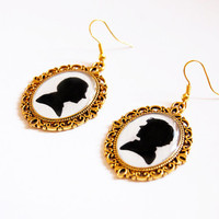 Sherlock Holmes and Doctor John Watson Silhouettes - Handmade Vintage Cameo Pendant Dangle Earrings - Best Friends Jewelry