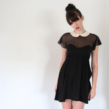 Little Black Dress   Empire Waist Babydoll With Sheer Mesh And Peter Pan Collar Vintage Inspired Date Night Dress   Medium