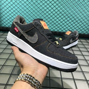 Nike Air Force 1 Cowboy Canvas Fashion Casual Skate Shoes Black