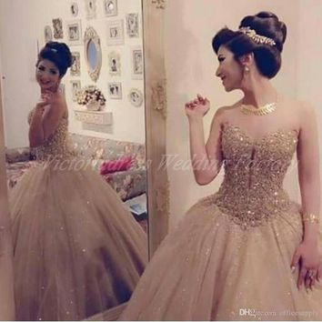 Vestidos Para 15 Anos Sweet 16 Birthday Ball Gowns Champagne Quinceanera Dresses Luxury Crystals Girl Debutante 15 Years Dress
