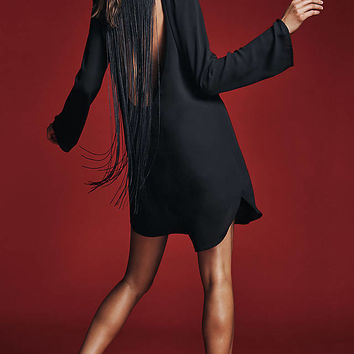 Black Fringe Back Tunic Dress from EXPRESS