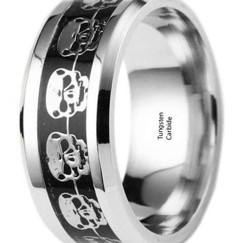CERTIFIED 8mm Hallowmas Skull Beveled Edges Tungsten Celtic Rings Jewelry Band