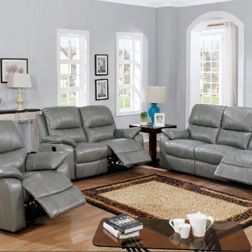 Poundex F6454-55 2 pc Bernice II grey genuine leather match sofa and love seat set with reclining ends