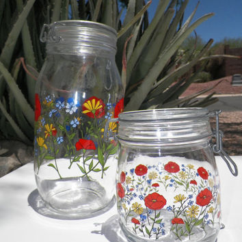 French Poppy Floral Glass Canister Set of 2. Arcoroc France. Poppies. Kitchen Decor. Country Kitchen. Vintage Canisters