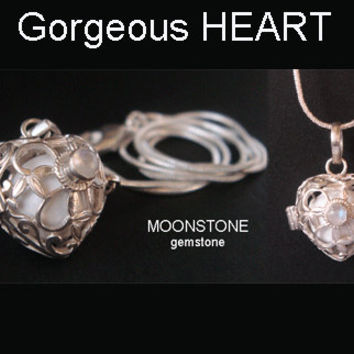 Heart Shape Harmony Ball Bola Necklace, MOONSTONE Gemstone & White Chime Ball in 925 Sterling Silver Cage | Pregnancy Gift, Angel Caller 406