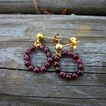 Small Garnet Gemstone Hoop Earrings Modern Minimalist Jewelry