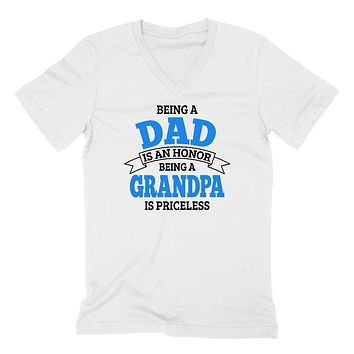 Being a dad is an honor being a grandpa is priceless grandpa grandfather  to be gifts for him pregnancy announcement Father's day  V Neck T Shirt