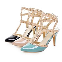 Studded Gladiator Sandals Women Pumps High Heels Party Spike Shoes Woman