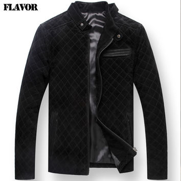 Men's Pigskin Black real leather jacket motorcycle Genuine Leather jacket biker coat men padding cotton