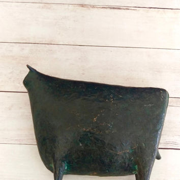 Brass Bull/ Bronze Bull/ Modernist Bull/ Brass Cow/ Bronze Cow/ Bull Figurine/ Cow Decor/ Bull Art/ Kitchen Decor/ Skinny Cow/ Taurus