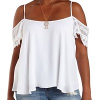 Plus Size White Crochet Cold Shoulder Swing Top by Charlotte Russe