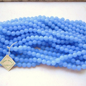 Vintage glass beads opal milky blue chalcedony color rounds Czech 6mm (24)
