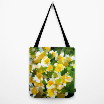 Art Print Tote Bag with Abstract Yellow, White and Green Floral Print, Canvas Bag.
