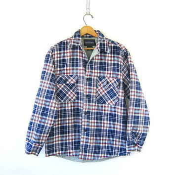 Grunge Plaid Flannel Jacket Mens Insulated Button Up Thick Cotton Boyfriend Shirt Quilted Fall Coat UNISEX Medium