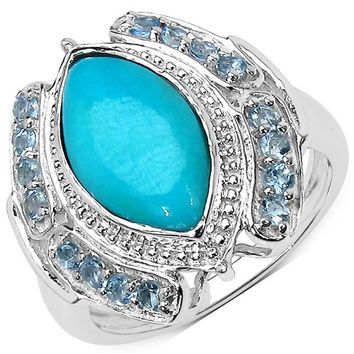 2.74 Carat Genuine Turquoise & Aquamarine .925 Sterling Silver Ring