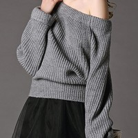 Ribbed Off The Shoulder Sweater