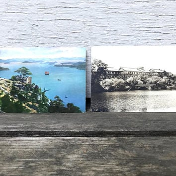 Set of 2 Vintage Japanese Postcards, Nara Hotel Japan, Tato-Kai Seto Island, 1960s-1970s