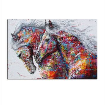 1 Panel Animal Wall Art Pictures for Living Room Home Decor Canvas Print Painting The Two Running Horse Wall Decor Posters No Fr