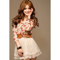White Floral Print Chiffon Dress with Belt