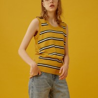 Yellow Stripe Knitted Vest