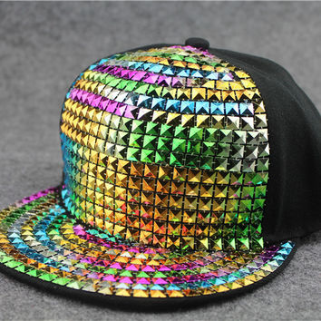 Diamonds Hats Ladies Korean Summer Baseball Cap Hip-hop Cap [6258473286]