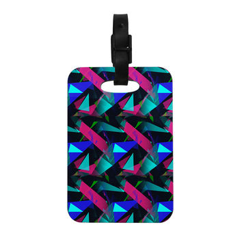 "Alison Coxon ""Confetti Triangles Dark"" Magenta Blue Decorative Luggage Tag"